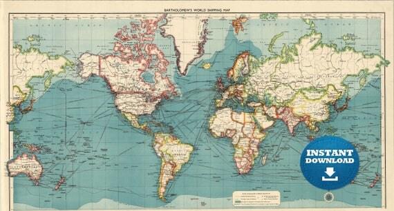Digital Old World Map Printable Download Vintage World Map - Large vintage world map poster