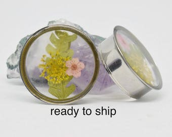 """28 mm (1 1/8 """") plug with dried flowers and fern / / gauges with dried flowers and TV"""