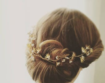Bridal crown bulit from gold leaves
