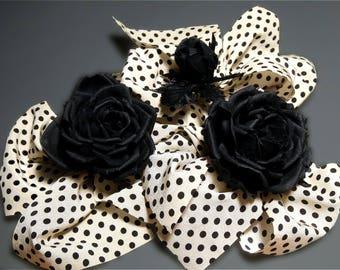 Handmade Black Rose, Silk Flower Brooch, Black/White Dotted Bow-Knot, Flower Jewelry, Silk Jewelry