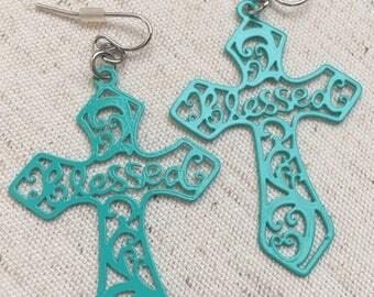 "Lightweight ""Blessed"" Cross Earrings- Turquoise Cross Earrings- Cross Earrings- Cross Accessories- Cross Jewelry- Turquoise Cross Accessory-"