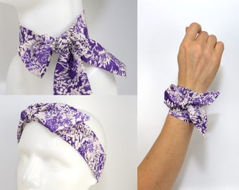 TWILLY Liberty: Scarf Bracelet Headband, 3 wrap London hat band skinny neckerchief neck bow hair tie purple plum violet small floral flower