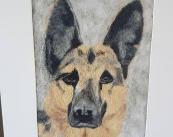 Large custom made pet portraits needle felted.