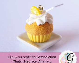 Cupcake earrings lemon whipped cream