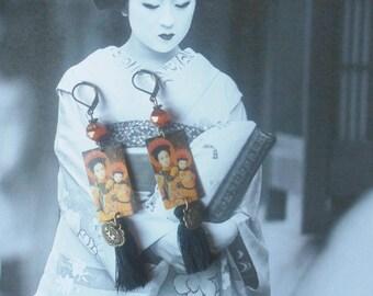 Earrings ethnic Bohemian Asian Japanese geisha