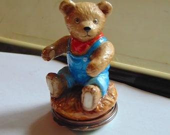 Halcyon Days   enamel Bonbonnieres TEDDY BEAR  eating apples