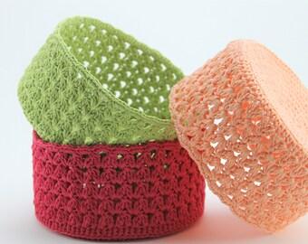 Storage colored basket Handmade crochet basket Home decor Gift idea