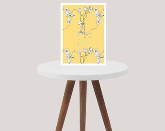 Primrose Yellow Buttercup Floral A4 Print - Art - Design - Wall Art