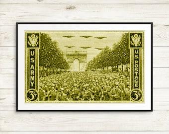 World War 2, WW2, World War II, WwII, Arc de Triomphe, France, War Stamp, World War 2 stamp, World War 2 poster, US military, US veterans
