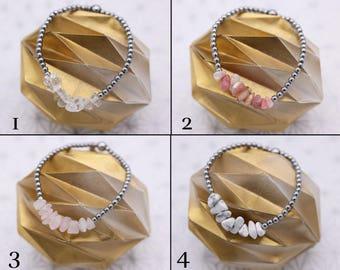 Rose Quartz rock /Cristal bracelet / pink Opal / Howlite and Hematite
