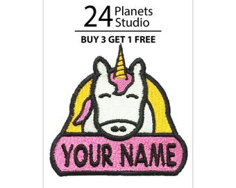 "Unicorn ""Your Name"" Iron on Patch by 24PlanetsStudio Your Text Custom Made DIY"
