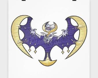 Poster Pokemon LUNALA LUNA LEGENDARY Pokemon on this 16 x 16 Poster Pocket Monster Fan Wall Art Rare Legendary Flying