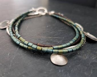 Bracelet-Hematite &Sterling Silver Chains
