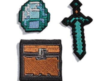 3 Pcs Minecraft patches iron on, Embroidered patches iron on, Clothing patches, Kids patches, Sew on patches