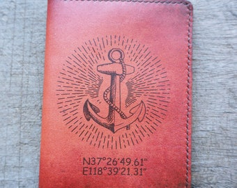 leather passport cover,leather passport holder,passport wallet,passport cover,passport holder anchor pattern