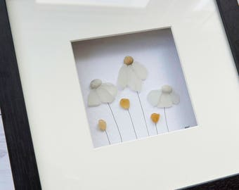Sea Glass Flowers, Daisy Art, Mother's Day Gift, Gift for Friend, Home Decor, Fine Art, Mixed Media Art, Pebble Art, Far Far Away Art