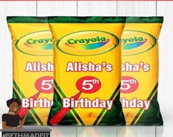 Crayola Birthday Party, Crayola Birthday Theme, Crayola Crayon Decor, Crayola Crayon Favors, Chip Bag, Kids, Printed and Shipped