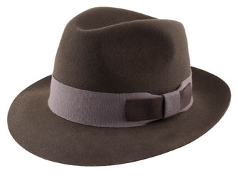 Le Distingué - Brown fur felt Fedora Hat - Handmade