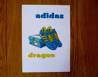adidas originals vintage retro dragon trainers shoes illustrated graphic poster art print A4