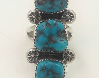 Vintage Native American Navajo Handmade Sterling Silver Candelaria Turquoise Ring
