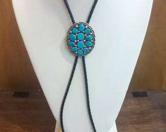 Native American Navajo Handmade Sterling Silver Turquoise Bolo Tie