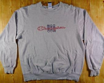 20% OFF Vintage U.S.A CHAMPION Hip Hop Grey Sweatshirt Sweater Jumper