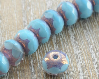 Czech Glass Rondelle Beads With Picasso Finish, Blue Beads, Faceted Beads, Czech Beads, Jewellery Supplies, Rondelle Beads, Turquoise,