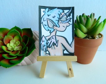 Original Cute Unicorn Girl Artist Trading Card (ATC)