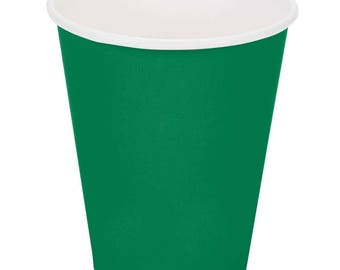 50 Ct Emerald Green Poly Paper Cups 9oz Hot/Cold, Party Supplies, Wedding Supplies, Party, Wedding, Paper Cups, Beverage Cups, Cups