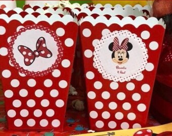 Minnie Party 4 Popcorn Box-boxes for setting up buffet table-theme birthday Minnie-red or pink boxes with white polka dots