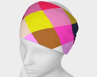 Headbands, Yoga Headband, colorful geometric headband, women's headband, neck warmer, infinity scarf