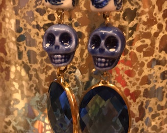Mexican Artesanal Blue Skull Earrings