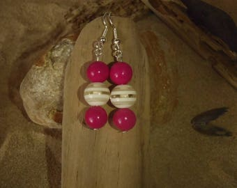 Earrings Fimo polymer clay round beads