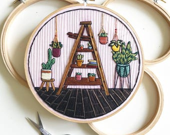 House Plant Scene 2 Hand Embroidery Wall Art 7""