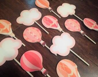 Hot air balloon cupcake toppers, hot air balloon decorations, hot air balloon baby shower, baby shower decorations, party decorations, girl