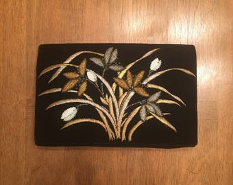 Black Velvet and Beaded Grass Flower Evening Clutch Bag