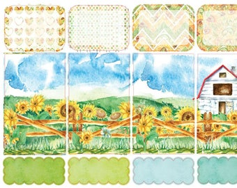 Classic Happy Planner Sticker Kit - Sunflowers Weekly Sticker Kit | Sunflowers Country Barn Farm Watercolor (CHP)