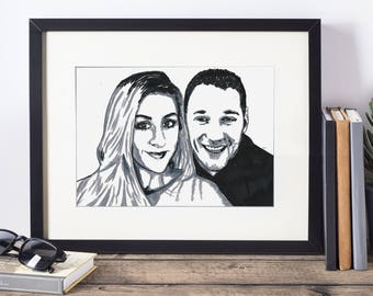 Unframed - Custom Portrait - 2 People - Hand drawn from photo, Hand Drawn Portraits , Custom Pen Drawing, Drawing with Pen, Pen Drawing