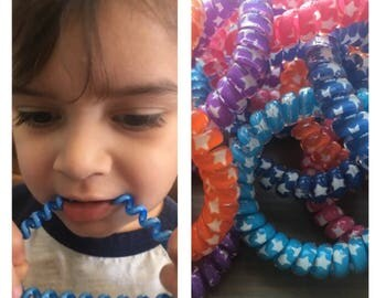 Large Extra Thick Chew Bracelet with Stars!! Thick chew bracelet, coil chew bracelet, fidget bracelet, sensory bracelet