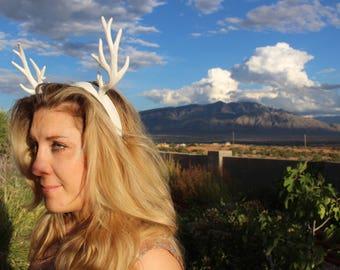 Reindeer Antler Head Piece- Frozen Princess Costume- Wedding Tiara - Deer Antler Headband - White Antler Headdress - Bambi Cosplay Costume