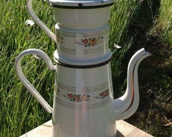 Classic Antique French Enamelware Coffee pot / Cafetiere, French Cuisine.