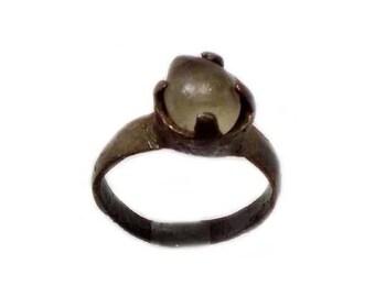 Genuine Ancient Roman Ring Bronze Ring Provincial Lycia Ancient Ring Original Glass Quartz Gemstone AD100 Solitaire Ring Size 7 #60656