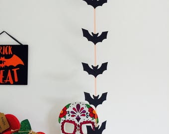 bat hanging garland bat halloween decoration halloween party decor bat bunting hanging - Etsy Halloween Decorations