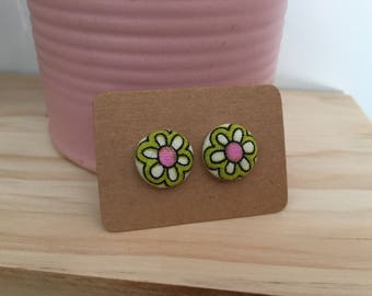 Olive and Pink button earrings