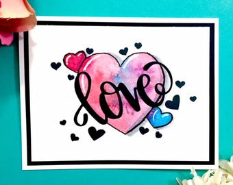 C029 - Watercolor Handmade Love Greeting Card