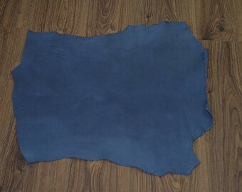 Coupon of navy blue lamb leather (2017081103)