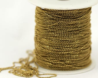 Ball chain faceted 1.5 mm raw brass - 1 meter