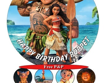 Moana and Maui (2) Personalised birthday cake top icing sheet 15cm 18cm or 20cm with 8 cupcake toppers