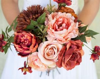 coral bouquet coral wedding bouquet silk bridal bouquet silk bouquet peony bouquet
