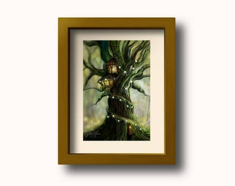 Digital Painting Print. Surrealism Fantasy Art. Tree Illustration. Surreal Art Digital Print. 11 x 14.